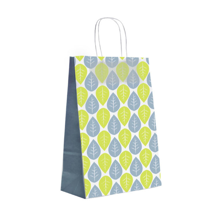 papiertragetaschen mit kordelgriffen blattmuster in gr n und blau rocaba verpackung. Black Bedroom Furniture Sets. Home Design Ideas
