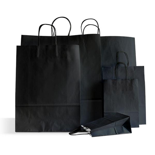 premium papiertragetaschen mit kordelgriffen schwarz rocaba verpackung. Black Bedroom Furniture Sets. Home Design Ideas